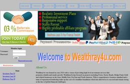 HYIP wealthray4u.com screenshot home page