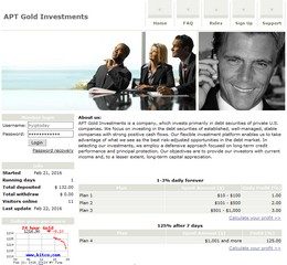 HYIP aptgold.com screenshot home page
